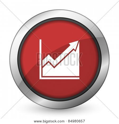 histogram red icon stock sign