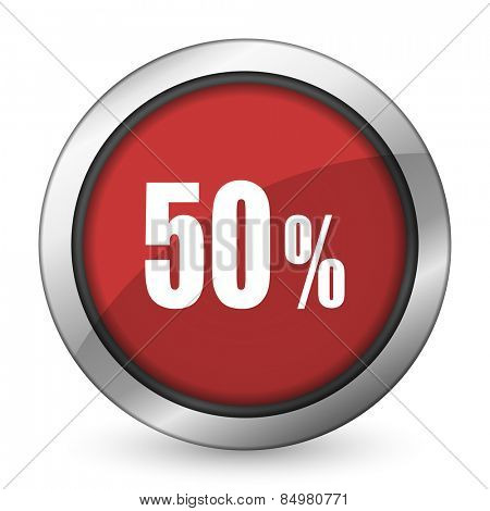 50 percent red icon sale sign