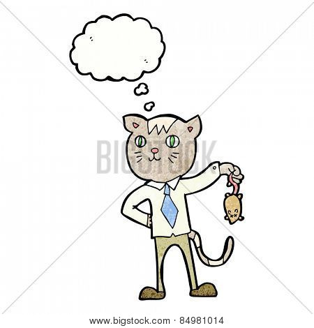 cartoon business cat with dead mouse with thought bubble