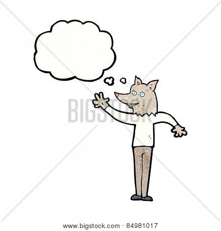 cartoon waving wolf man with thought bubble