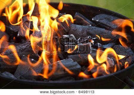 Parrilla en llamas