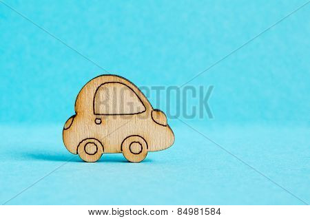 Wooden Car Icon On Blue Background