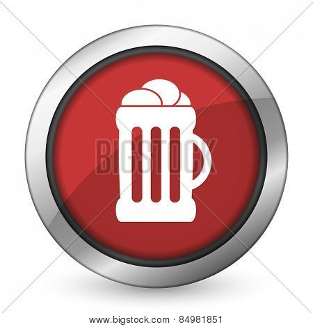 beer red icon mug sign