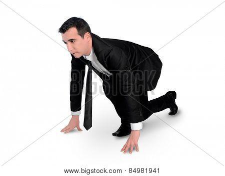 Isolated business man start run