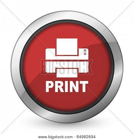 printer red icon print sign