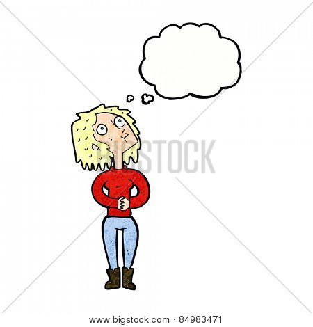 cartoon woman looking upwards with thought bubble