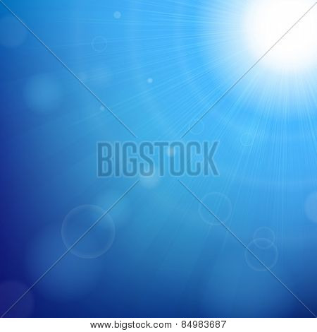 Blue Sky Background With Gradient Mesh, Vector Illustration