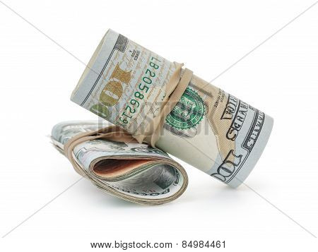 bunch of dollars and roubles on white