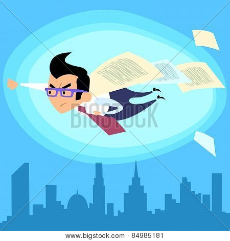 Businessman Superhero Flying Over The City Contract Deal