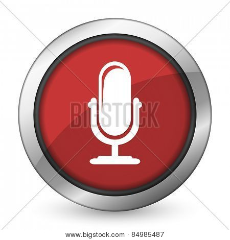 microphone red icon podcast sign