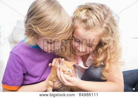 Cute brother and sister with kitten at home