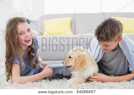 Happy siblings playing with puppy on rug at home