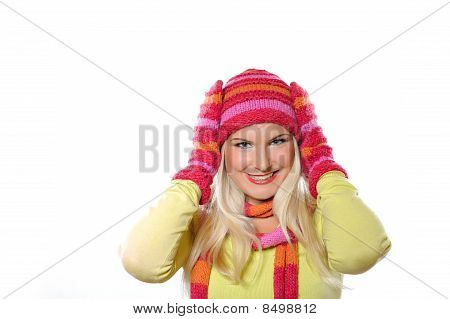 Seasonal Portrait Of Pretty Funny Woman In Hat And Gloves Smiling. White Background