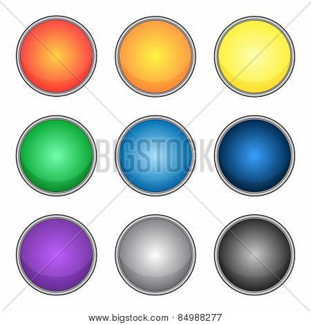 set of round buttons with stroke