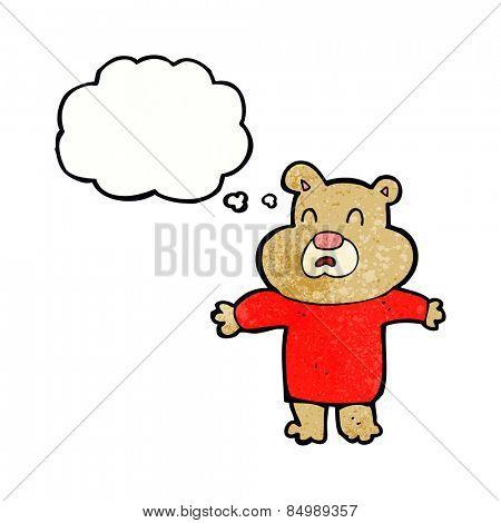 cartoon unhappy bear  with thought bubble