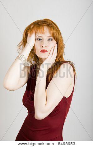 Beautiful fashion woman in elegant dress