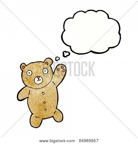 cartoon cute teddy bear with thought bubble