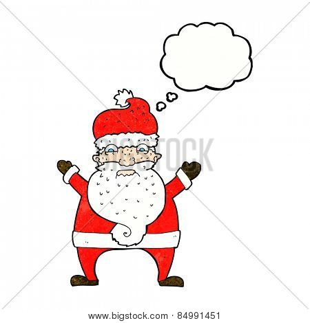 cartoon stressed out santa with thought bubble