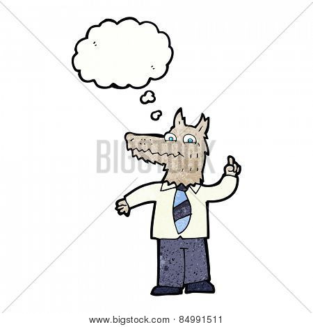 cartoon business wolf with idea with thought bubble