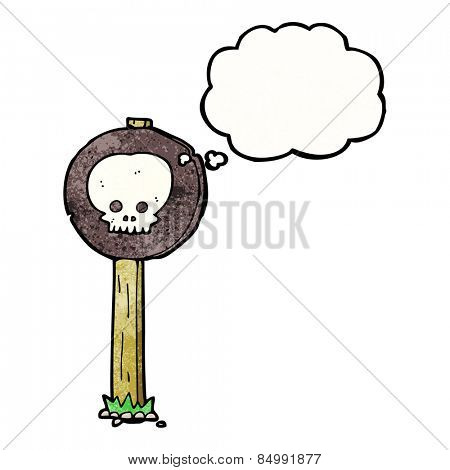 cartoon skull sign post with thought bubble