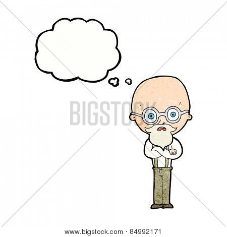 cartoon annoyed old man with thought bubble