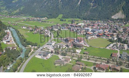 Mayrhofen, Austria  - Arial View.
