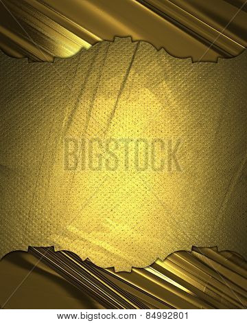 Antique Pattern Of Gold Texture And Nameplate. Template Design.