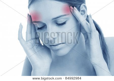 A picture of a sad woman having headache over white background