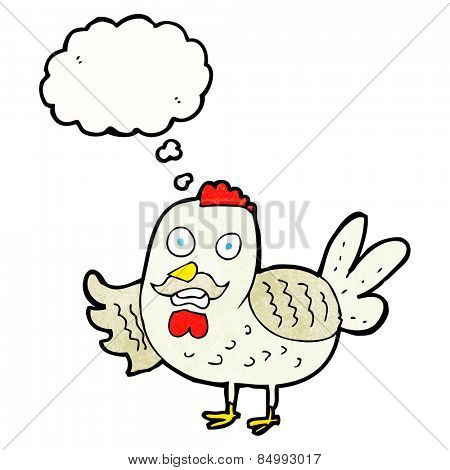 cartoon old rooster with thought bubble