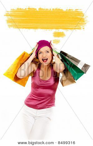 Young Pretty Shopping Woman Thinking . Blank Place For Your Text Design