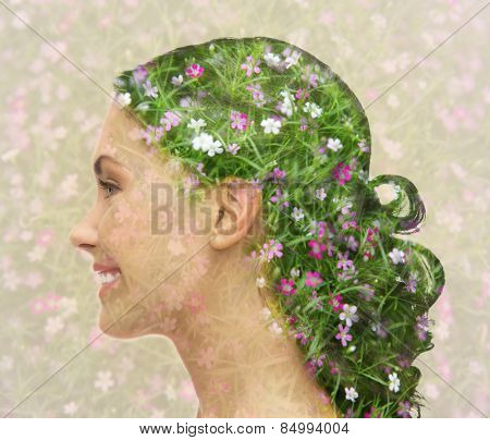 beauty, people and health concept - smiling young woman with floral pattern and double exposure effect