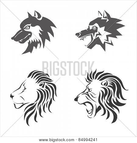 Wolf and lion heads stylized. Vector illustration.
