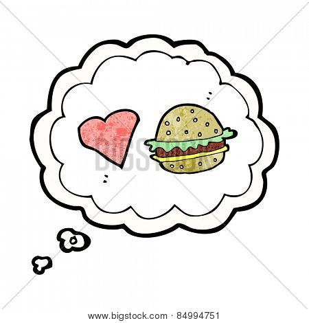 cartoon hamburger with thought bubble