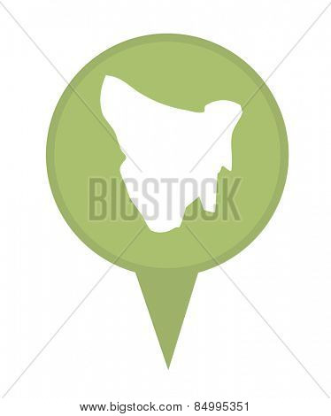 Tasmania map marker pin isolated on a white background.