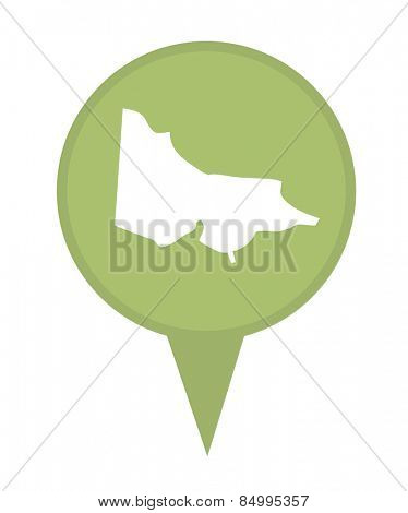 Australia State of Victoria map marker pin isolated on a white background.