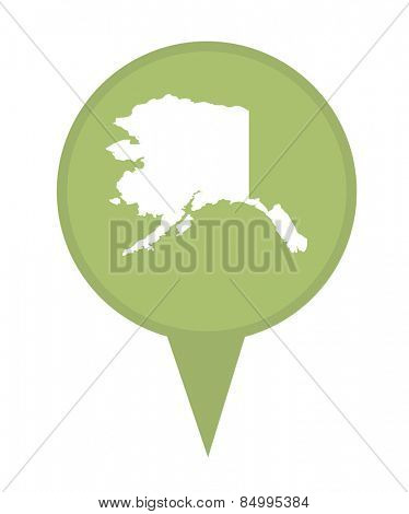 American state of Alaska marker pin isolated on a white background.