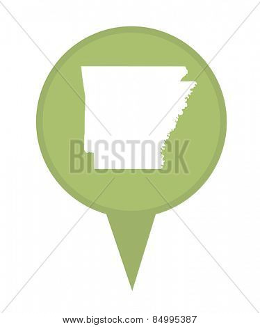 American state of Arkansas marker pin isolated on a white background.