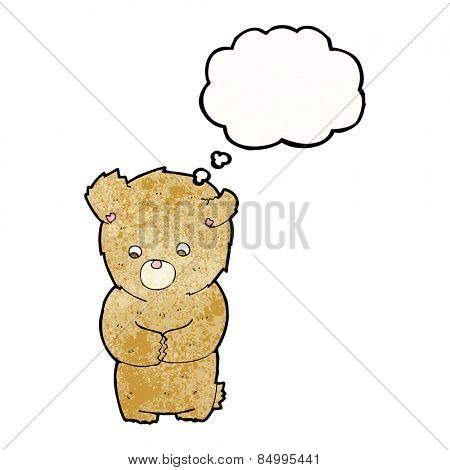 cartoon shy teddy bear with thought bubble