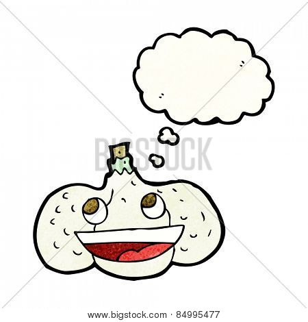 cartoon garlic with thought bubble