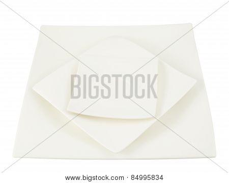 Three square ceramic plates composition