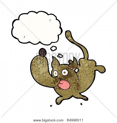 cartoon funny dog with thought bubble