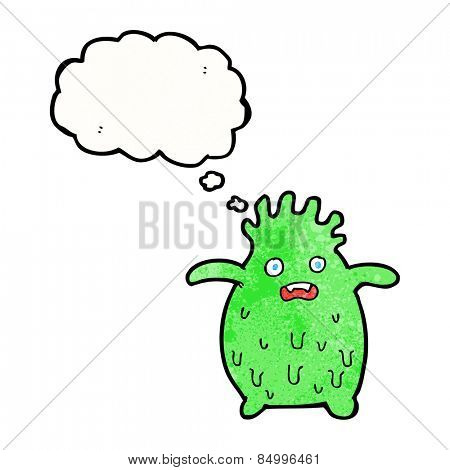 cartoon funny slime monster with thought bubble