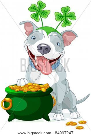 Illustration of cute Pit bull celebrates Saint Patrick Day