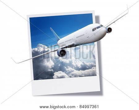 Passenger airplane flying above clouds breaking free from an instant print photo or postcard concept for travel and vacations