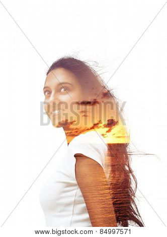 Artistic Design of Young Asian Indian Woman Portrait and Sunset at the Beach in a Double Exposure Effect Isolated on White Background.