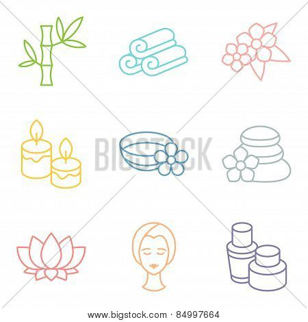 Set of spa and recreation icons in linear style