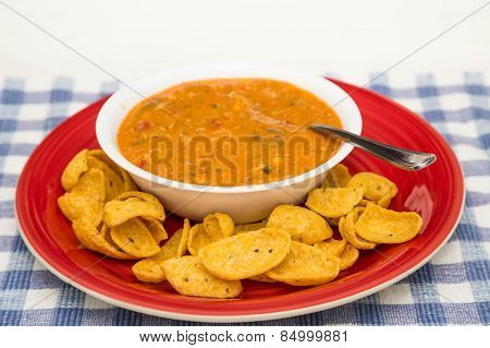 Chicken Tortilla Soup On Red Plate With Chips