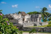 picture of mayan  - Mayan Ruins Besides Caribbean Sea - JPG