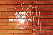 stock photo of supply chain  - business man holding the word Supply Chain Management - JPG