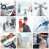 stock photo of plumbing  - Young plumber fixing a sink - JPG